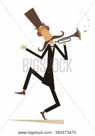 Cartoon Long Mustache Trumpeter Is Playing Music Illustrationю Mustache Man In The Top Hat Playing T