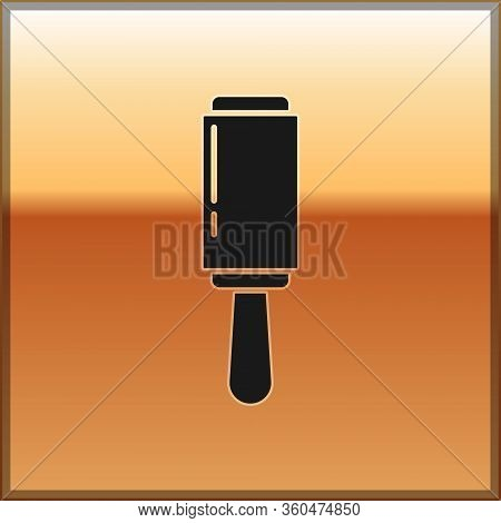 Black Adhesive Roller For Cleaning Clothes Icon Isolated On Gold Background. Getting Rid Of Debris,
