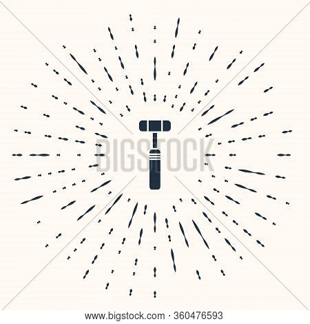 Grey Neurology Reflex Hammer Icon Isolated On Beige Background. Abstract Circle Random Dots. Vector
