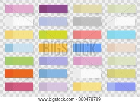 Set Of Colored Different Shaped Stickers And Flags Realistic Style. Blank Adhesive Sheets Of Adhesiv