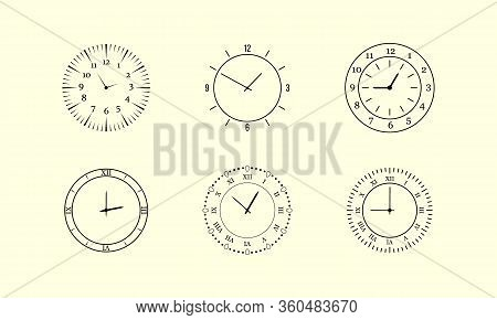 Minimalist Watch, Round Clocks And Watch Face. Classic Black And White Round Wall Clock Isolated On