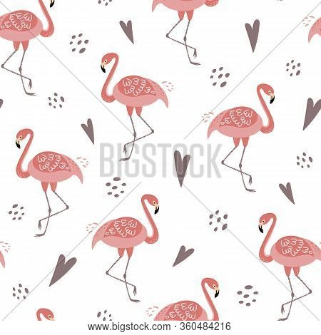 Cute Pink Flamingo Seamless Pattern Template. Pink Flamingo For Girls Party, Girly Design Love Heart