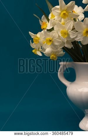 A Bouquet Of Daffodils Close-up. Daffodils In A White Vase With Handles. Background With Daffodils.