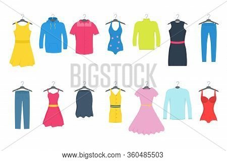 Clothes And Accessories Fashion Icon Set. Men And Women Casual Clothes On A Hanger In Store. Seasona