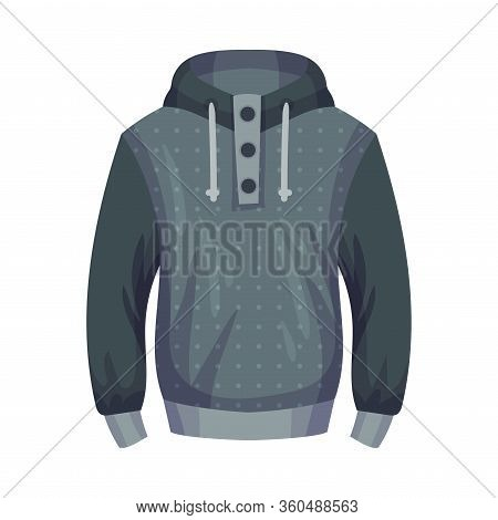 Jumper Or Sleeved Sweater With Hood As Male Clothing Item Vector Illustration