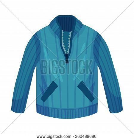 Jumper Or Sleeved Sweater With Side Pockets As Male Clothing Item Vector Illustration