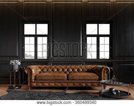 Classic Loft Black Interior With Wood Panel, Chesterfield Couch, Carpet, Flowers, Coffee Table And W
