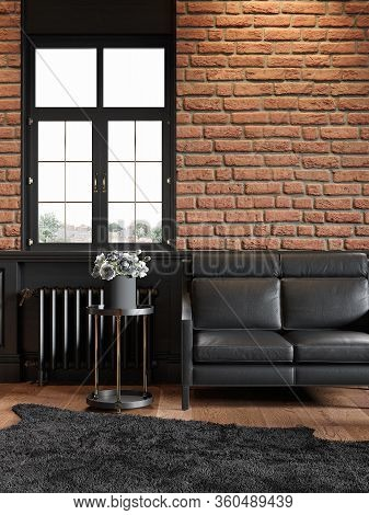 Loft Interior With Brickwall, Leather Couch, Wood Panel, Window And Carpet. 3d Render Illustration M