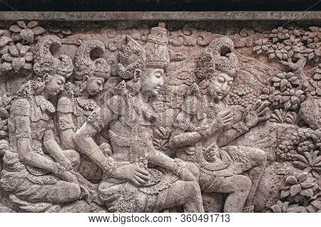 Images Of Gods And Demons Carved From Stone In Sacred Temples Island Of Bali. Decor And Decoration O