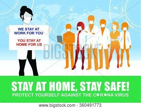 Doctor Requesting For Stay At Home, Stay Safe Vector Illustrations, Precaution Of New Coronavirus