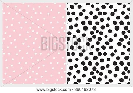 Simple Hand Drawn Irregular Dots Seamless Vector Patterns. Black Polka Dots Isolated On A White Back