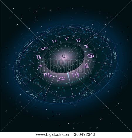 Illustration With Horoscope Circle, Zodiac Symbols And Astrology Constellations On The Starry Night