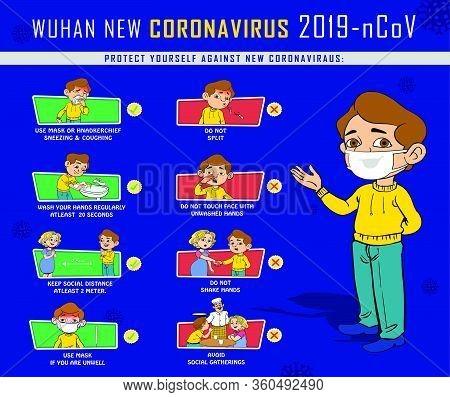 Coronavirus Preventive Measures, Precaution And Prevention Vector Illistrations
