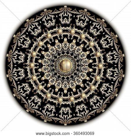 Baroque Vector Mandala Pattern. Greek Floral Background. Jewelry Backdrop. Antique Victorian Baroque