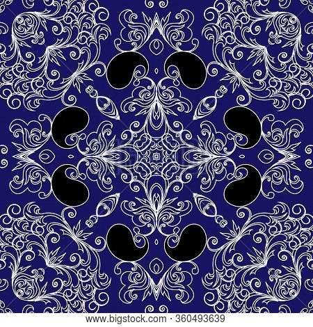 Paisley Seamless Pattern. Vector Ornamental Blue Background. Line Art Tracery Vintage Paisley Flower