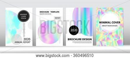 Holographic Gradient Vector Background. Hologram Minimal Light Covers Set. Fluorescent Gradient Over