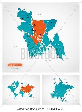 Editable Template Of Map Of Bangladesh With Marks. Bangladesh  On World Map And On Asia Map.