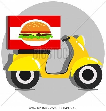 Cartoon Yellow Motor Scooter With Big Box . Food Delivery Service. Vector Illustration.