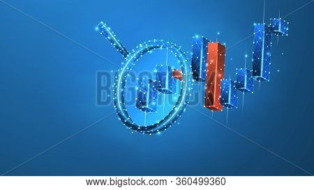 Magnifying Glass On The Stock Market Chart. Growing Financial Index Analysis. Low Poly, Wireframe 3d