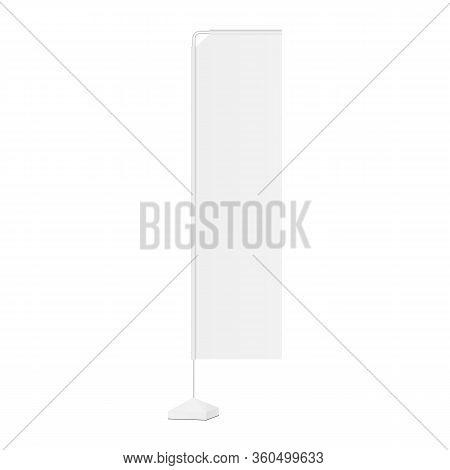 Advertising Vertical Flag Mockup Rectangular Shape Isolated On White Background. Vector Illustration