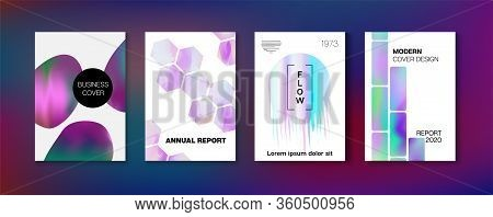 Holographic Gradient Vector Background. Fluid Holo Bright Trendy Layout. Hologram Business Soft Cove