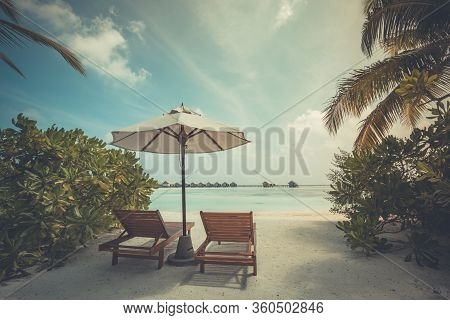 Peaceful And Tranquil Beach Scenery, Summer Vibes And Moods. Sunset Landscape, Luxury Water Bungalow