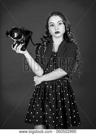 Vintage Camera. Girl With Retro Camera. Capture Childhood Memories. Slr Camera. Beautiful Child Phot