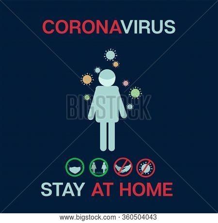 Stop Coronavirus Cartoon Ncov 19 Vector Banner. Covid-19 Prevention Infographic. Stop Coronavirus Qu