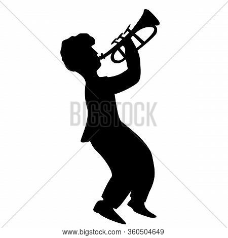 Trumpeter Silhouette. Trumpeter. Vector Isolated. Jazz Theme. Man Playing The Trumpet. Trumpet Music