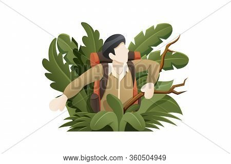 Vector Illustration Explorer Lost In The Forest. People To Explore The Jungle, Man Breaks Through Pl