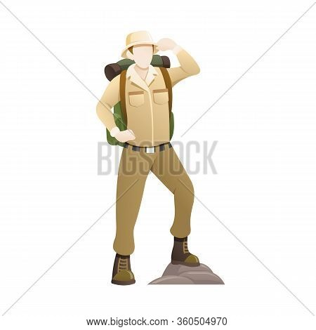 Vector Illustration An Explorer With Hat And Backpack. People To Explore The Jungle, Man Enjoying Sc