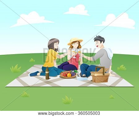 Vector Illustration People On A Picnic. Group Of Happy Friends At Picnic On Park. Young Smiling Men