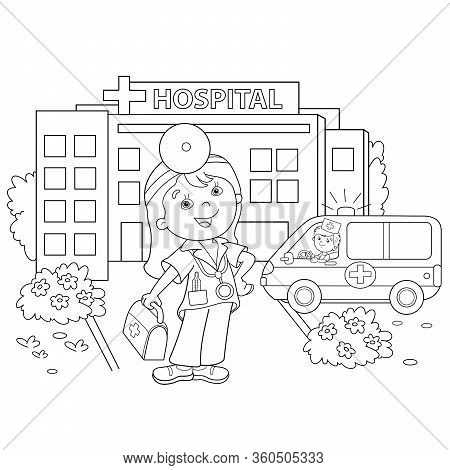 Coloring Page Outline Of Cartoon Doctor With Ambulance Car Near The Hospital. Profession. Medicine.