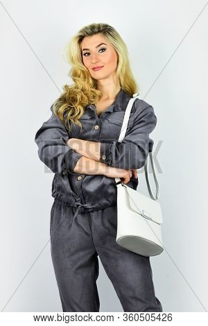 Sexy And Confident Blond Carry Shoulder Bag. Handbag Fashion And Beauty. Tote Or Shopper Bag For Any