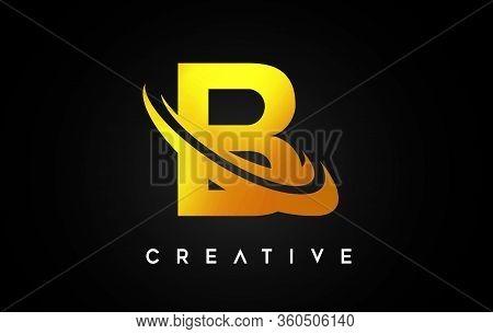 B Golden Swoosh Letter Design Logo Icon Vector.