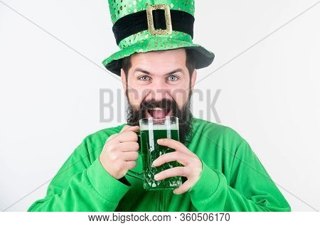 Irish Culture. Man Bearded Hipster Funny Hat Drink Pint Beer. Colored Green Beer. Green Beer Part Of