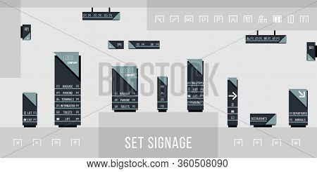 Set Of Signage Vector.direction,pole, Wall Mount And Traffic Signage System Design Template Set.exte