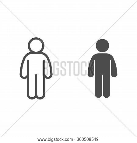 Man Stand Pose Line And Solid Icon. Man In Front Pose Arms Down At The Waist Outline Style Pictogram