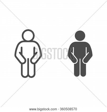 Akimbo Pose Line And Solid Icon. Man In Front Pose With Two Hands In Pockets Outline Style Pictogram