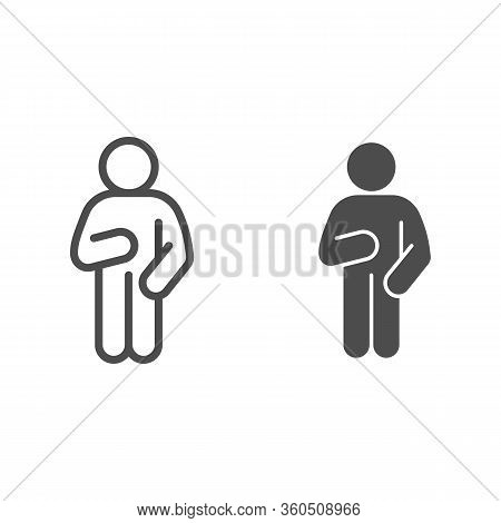 Relax Man Pose Line And Solid Icon. Man With Arm Down On The Right And Raised Arm On The Left Outlin