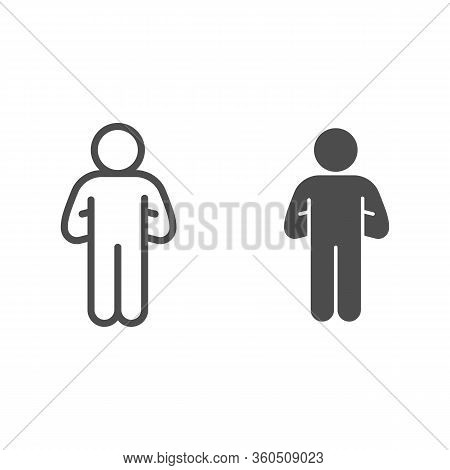 Proud Human Pose Line And Solid Icon. Man With Hands Down Behind Outline Style Pictogram On White Ba