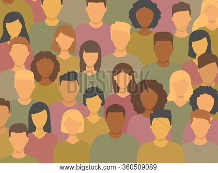 Diverse Multicultural Group Of People Standing Together (europian, Asian, American). Human Social Di