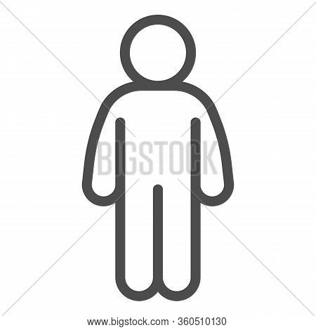 Man Stand Pose Line Icon. Man In Front Pose With Arms Down At The Waist Outline Style Pictogram On W