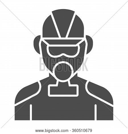Firefighter Solid Icon. Fireman With Respirator Glyph Style Pictogram On White Background. Man In Fi