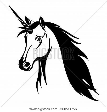 Beautiful Fairy Tale Unicorn Horse With Flying Mane - Fantasy Animal Black And White Vector Portrait