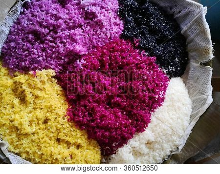 Five Colors Rice Traditionally Prepared For Tomb-sweeping Day Day In China Closeup