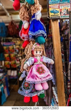 Budapest, Hungary - March 15, 2019: Traditional Magyar Dolls Puppets In Folk Costume Traditional Hun