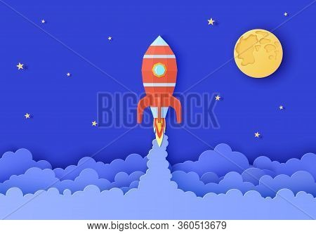 Rocket Take Off In Paper Cut Style. Night Sky With Full Moon And Star And Red Origami Spacecraft Lau