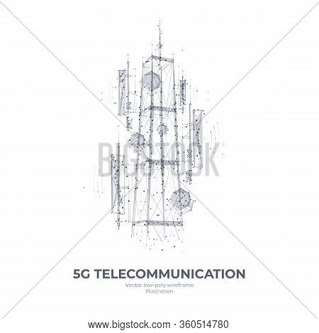 Abstract 3d Isolated  5g Tower On White Innovation Technology Background. Low Poly Wireframe Digital