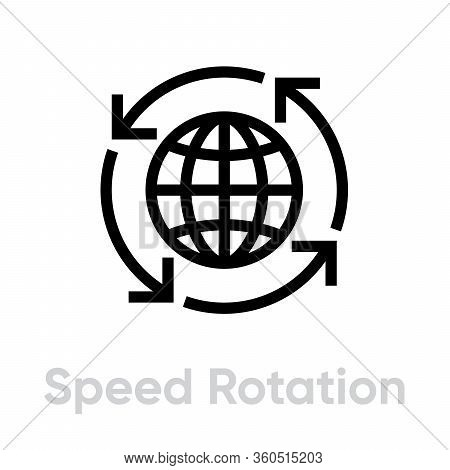 Speed Rotation Globe Icon. Editable Vector Stroke.